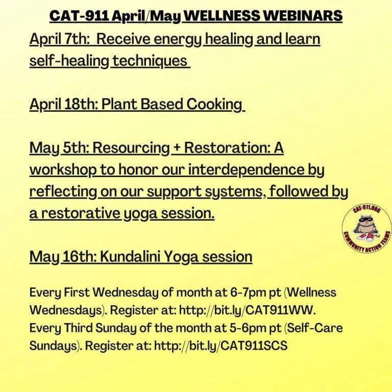 Apr/May CAT 911 Wellness Webinars