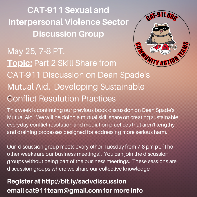 May 25 - CAT 911 Sexual and Interpersonal Violence Sector: Discussion Group
